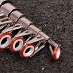 Lioobo Mini canne à pêche télescopique 2,3 m Noir
