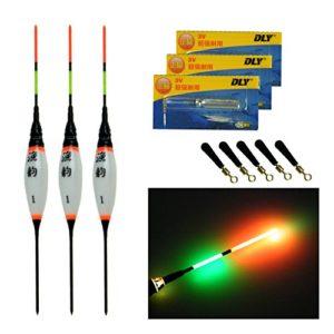Lot de 3 flotteurs électroniques à LED – Pour la pêche à la carpe dans les lacs ou les rivières – Avec batterie et lumière de nuit, 3 Pcs #1