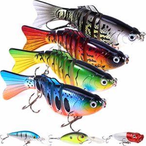Lot de 7 leurres de pêche avec Une boîte de pêche réaliste pour appâts de Natation à Plusieurs articulations