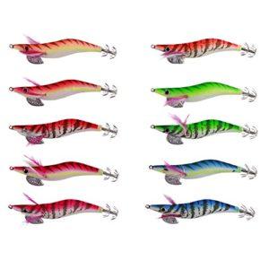 LSHEL Appâts de pêche Turluttes Leurres Appâts Crochets pour Calmars Poulpes Appâts Lumineux Calmar Leurres Crevettes, 10PCS/Multicouleurs