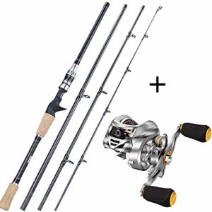 New2.1M Lure pêche Rod Combo Portable 4 Sections Carbone Canne et Moulinet de pêche Roues Set Burgundy Right Hand