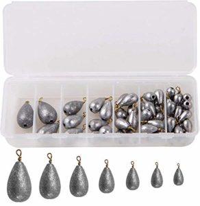 OROOTL Plomb de Peche, Poids de Pêche 54pcs/Boîte pour La Pêche en Forme de gouttelettes d'eau pour pêche