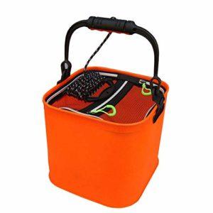 Pêche Folding Portable Seau Camping Pêche Bucket pour La Pêche Voyage Camping en Plein Air À Outils De Stockage d'orange