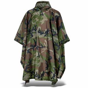 Poncho de pluie – Imperméable – Avec capuche en nylon Ripstop, woodland, taille unique