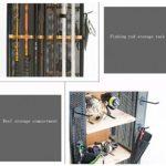 Présentoir de canne à pêche Multi-fonction pour engins de pêche Présentoir Support de stockage Support de ménage Peut accueillir 14 cannes à pêche portant Fort ( Color : BLACK , Size : 42*45*122CM )