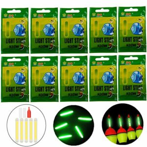 QualyQualy 10pcs 20pcs 50pcs Lot Bulk Bâtons pour la pêche Flotte, la pêche bâton Lumineux Veilleuse Baguette Tubes Vert Fluorescent d'éclairage bâton, 50 Pcs 4.5 * 37mm