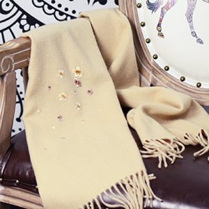 RENYZ.ZKHN Men and Women in Autumn and Winter Scarf Scarf Embroidery Embroidery Scarf Shawl 32 * 180Cm Gifts,Apricot