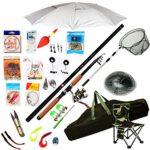 Set de pêche Matériel de pêche Kit avec Moulinet Rod Combos Ligne Leurres Crochets Voyage de démarrage Professionnel Ensemble Complet (Color : A, Size : 2.7m)