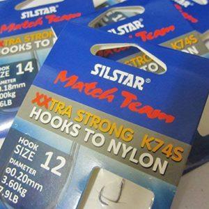 Silstar Match Team 24 (4 paquets de 6) K74S – Hameçons de pêche extra larges XXTRA résistants sans ardillon à nylon – Disponible en tailles 10, 12, 14 et 16 (4 paquets – Taille 16 à 0,16 mm de 5,5 lb)