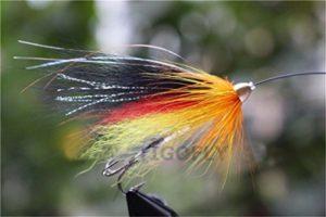 Tigofly Lot de 24 mouches en plumes orange, noir, rouge et jaune, mouche-tube à tête conique en métal, pêche à la mouche saumon, truite