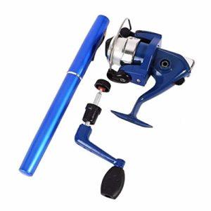 Trihedral-X Pen Tige d'alimentation de Ligne de pêche de filage de Canne à pêche de Type Poche portatif pêche Tige Poisson Stylo Cadeaux Rod (Color : Blue)