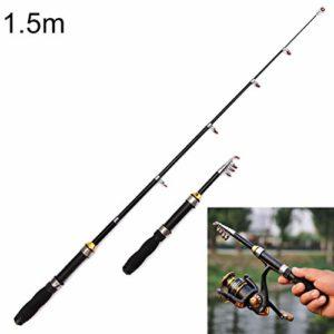 WJH Canne à pêche télescopique portative de 32cm, Longueur maximale: 1.5m (Couleur : Color2)