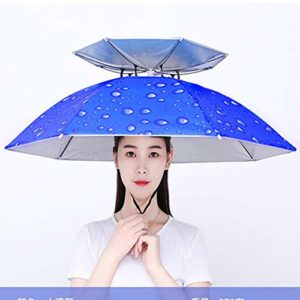 AZSTAR Chapeau Parapluie Double Layer Umbrella Hat with 7 Metal Ribs for Fishing, Camping, Golf, Hiking, Photography and Outdoor Activities (Bleu)