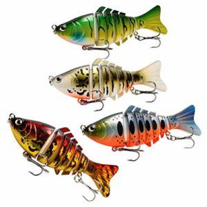 BESPORTBLE 4 Pièces Leurres de Pêche Réalistes Appâts de Pêche Swimbait Leurres de Pêche Outil de Pêche Accessoires de Pêche pour Poissons Adultes en Plein Air
