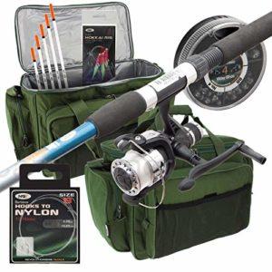 Carp-Corner Kit de pêche avec canne, moulinet, flotteurs, plumes et housse pour canne à pêche
