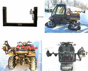 Digger Ice Tarière Support de Fixation pour ATV, motoneige, UTV, Compatible avec Support en métal, Bumper & Polaris Composite Rack, Noir, Polaris ATV Compatible Mount