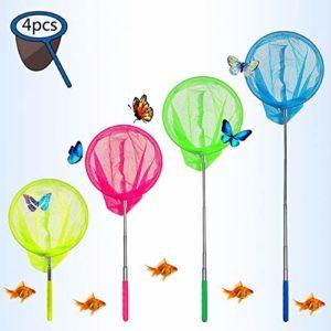 Eyscoco Lot de 4 épuisettes télescopiques pour enfants – Idéal pour attraper les insectes, les bugs, la pêche, le jardin, la piscine, les activités de plein air, Couleur 1