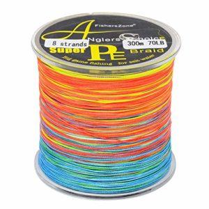 Fil de pêche tressé 8 brins de 300 m, multicolore, super résistant, en polyéthylène de 4,5 à 49 kg, 55lbs