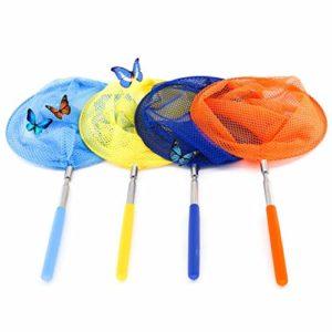 Filet à Papillon, Enfants Extensible Filet de Pêche Papillon Bug Insect Net Jardin Coloré Filet de Papillon avec Poignée Antidérapant Parfait pour Attraper Les Insectes Petits Poissons 4 Packs