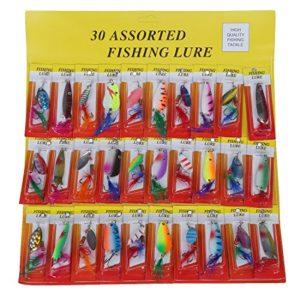 Fransande Lot de 30 leurres de pêche en plumes pour basse, brochet, truite et saumon