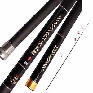 Jmmyq 8 m / 9 m / 10 m / 11m / 12m / 13m Chargeur Rod Canne à pêche télescopique Ultra Long Carbone Canne à pêche Peche (Color : Black, Length : 10m)