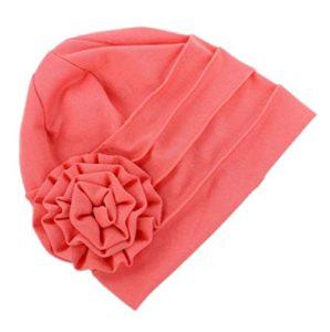 Leisial Automne et Hiver Bonnet en coton élastique Casquettes de Chimiothérapie pour Femmes Fleurs Décorées Casquette de Douche(Rose)