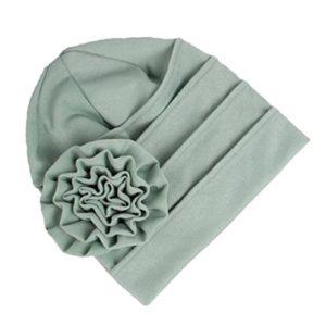 Leisial Automne et Hiver Bonnet en coton élastique Casquettes de Chimiothérapie pour Femmes Fleurs Décorées Casquette de Douche(Vert)