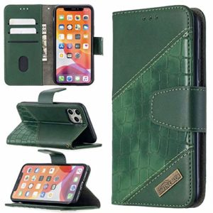 Miagon iPhone 11 Étui pour Téléphone,Antichoc Cover Crocodile Épissage PU Cuir Coque Housse avecMagnétique Porte-Cartes de Crédit Stand Support,Vert