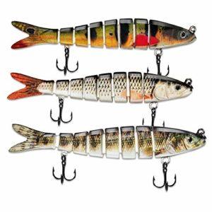 ods lure Appâts pour la pêche au Bar 8 Segments Multi Swim Baits Kit de leurres coulants avec hameçons (D8J01-374-388-379)