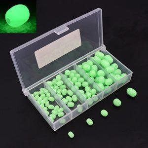 OriGlam pêche 100pcs perles éclat lumineux en plastique souple de forme ovale, perles perles de ronde en plastique vert leurres de pêche, pêche maritime perle outils flottants oeufs