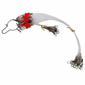 OROOTL 12 pcs/Sac BasLigne en Acier Inoxydable avec Agrafe de Pêche et Emerillons Rolling de Pêche Blanc 1RD/2RD