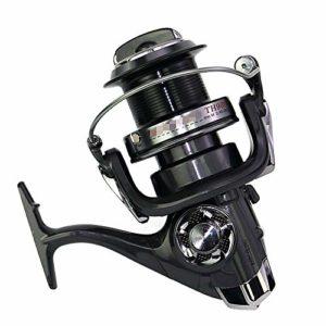 Roue de pêche en mer 3.8:1 Moulinet rotatif gauche/droite interchangeable en métal (couleur : noir, taille : 11000)