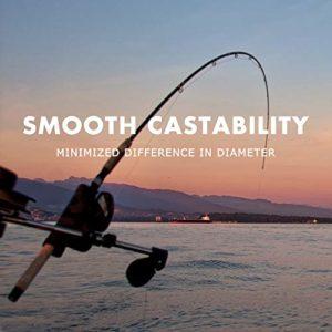 SAPLIZE Ligne de pêche enduite de fluorocarbone, Ligne de pêche de coulée Facile à Faible allongement de résistance à l'abrasion Super 14LB, 300 mètres