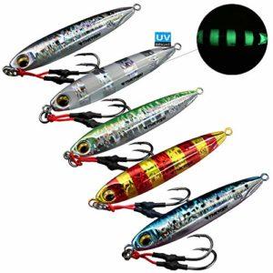 Thkfish Leurre de pêche en eau salée en métal pour bar, truite, saumon, thon, 6,3 g, 5 pieces multi-color, 60g/0.21oz