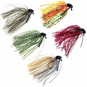 thkfish Lot de 5 leurres de pêche Jigs de natation Jigs de pêche Pêche Bass Mélange de couleurs Fil métallique 1,27 g