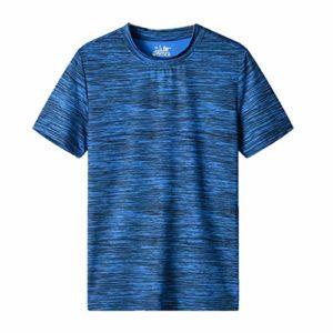 T-shirt à manches courtes pour homme à séchage rapide de sport de remise en forme de course à pied, de sport léger et respirant – Bleu – L