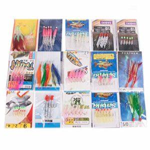 Yoshikawa Lot de 65 hameçons en Plumes de maquereau, pêche en mer, Jig Trolling Jupe Accessoires