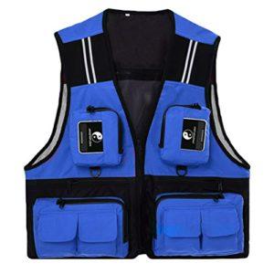 Dooxi Hommes Multi-Poches Séchage Rapide Photographie Vestes Extérieur Randonnée Gilets Bleu XL