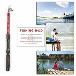 FairytaleMM Canne à pêche télescopique en Fibre de Verre Portable extérieure Canne à pêche pôle Outil de pêche Canne à mer Accessoires de pêche