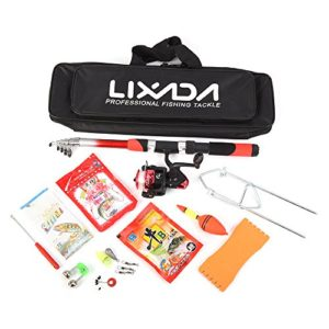 Lixada Ensemble de Pêche avec 2.1m Telescopic Fiberglass Fishing Sea Rod Spinning Fishing Reel Fishing Baits Ganchos Fishing Bag