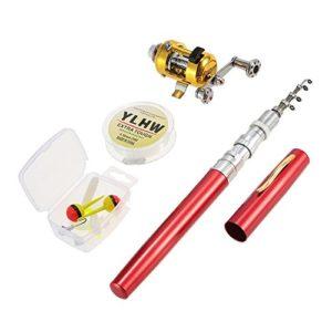 Lixada Reel Fishing Rod Combo Set Mini Stylo Télescopique de Poche Portable Canne à Pêche Pôle + Bobine en Alliage d'aluminium Ligne de Pêche Souple Leurre Jig Hooks