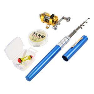Lixada Reel Fishing Rod Combo Set Mini, Stylo Télescopique de Poche Portable Canne à Pêche Pôle + Bobine en Alliage d'aluminium Ligne de Pêche/Souple/Leurre Jig Hooks (Bleu)