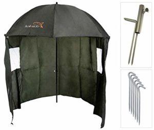 Neco 15021 Parapluie de pêche Ø 220 cm avec cape, pied de parasol et piquets, protection contre la pluie, le vent et le soleil, 2 hommes et bagage à carpe + étui gratuit