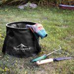 Northridge Gear Seau Pliant Bol Pliant au Design branché | Camping pêche Parti Jardin | Peut être utilisé comme Cuvette Pliable, Bocal à Eau ou évier Pliant | Noir, 15L