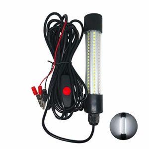 Porfeet Lumière De Pêche sous-Marine, 12-24V 13W LED Lampe De Lumière De Pêche sous-Marine d'eau Douce Submersible d'eau Salée Blanc Taille Unique