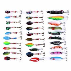 TUXIBIN Lot de 30 cuillères de pêche Spinnerbaits en métal coloré pour pêche