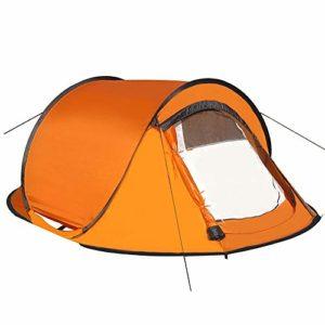 Zmsdt Tente extérieure imperméable pour 2 ou 3 Personnes Instantané Stockage Facile Portable et Durable, idéal pour Le Camping Familial Orange